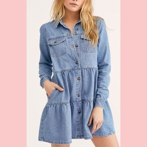 NWT Free People Nicole Denim Shirt Dress Tunic